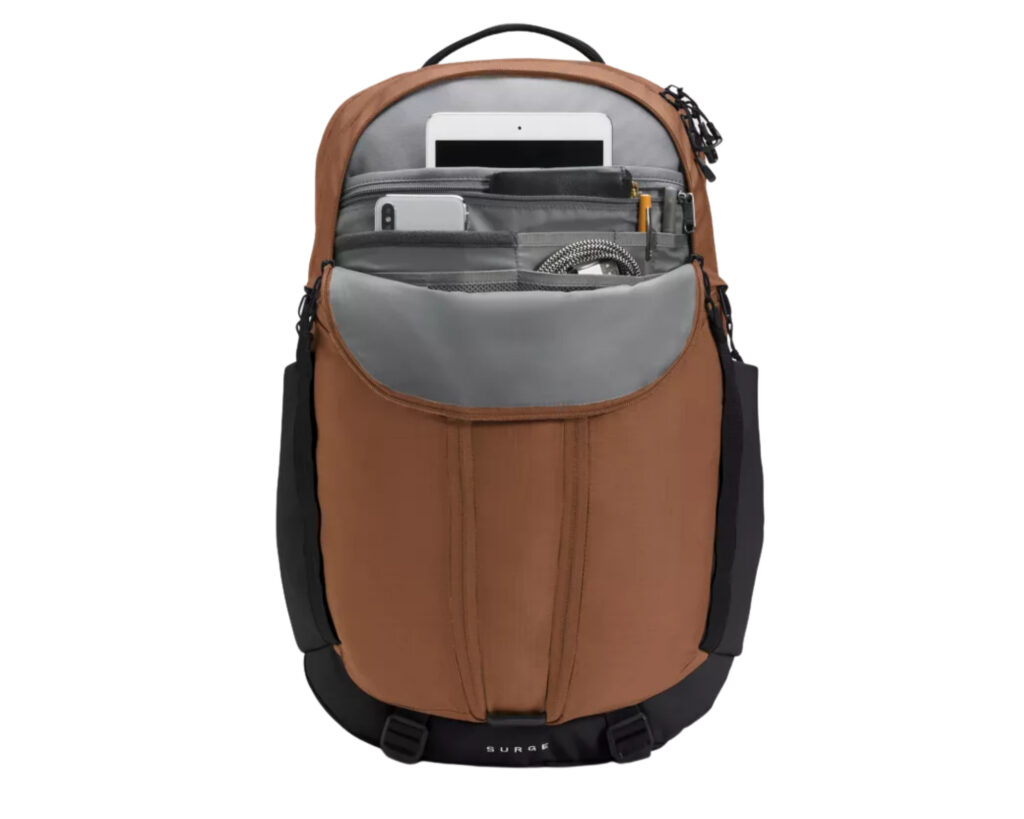 North Face Surge backpack review: inside the organization compartment of the North Face Surge