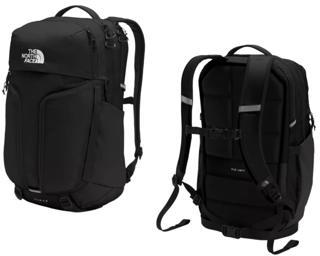 North Face Surge backpack review: front and back view of the North Face Surge