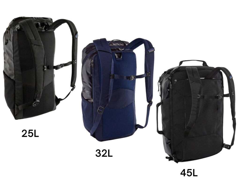 Patagonia Black Hole backpack review: the 25L, 32l and 45l backpacks back view