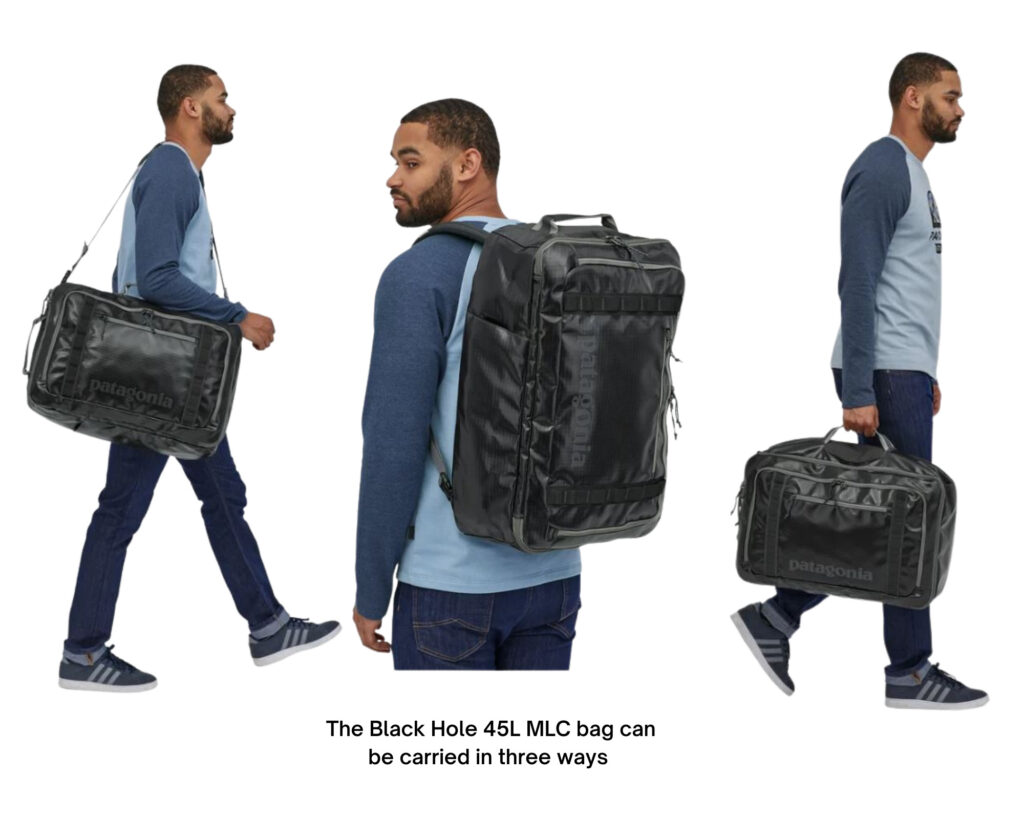 Patagonia Black Hole backpack review: the 45l backpacks being carried in three different ways