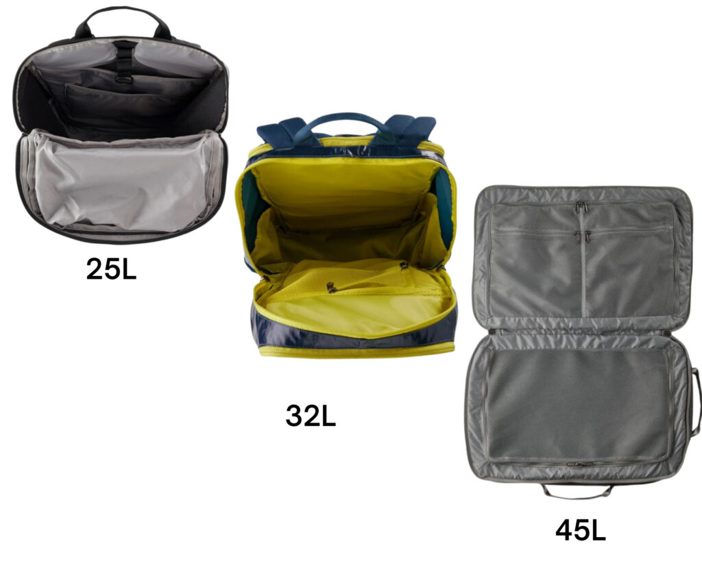 Patagonia Black Hole backpack review: the 25L, 32l and 45l backpacks internal storage pictures