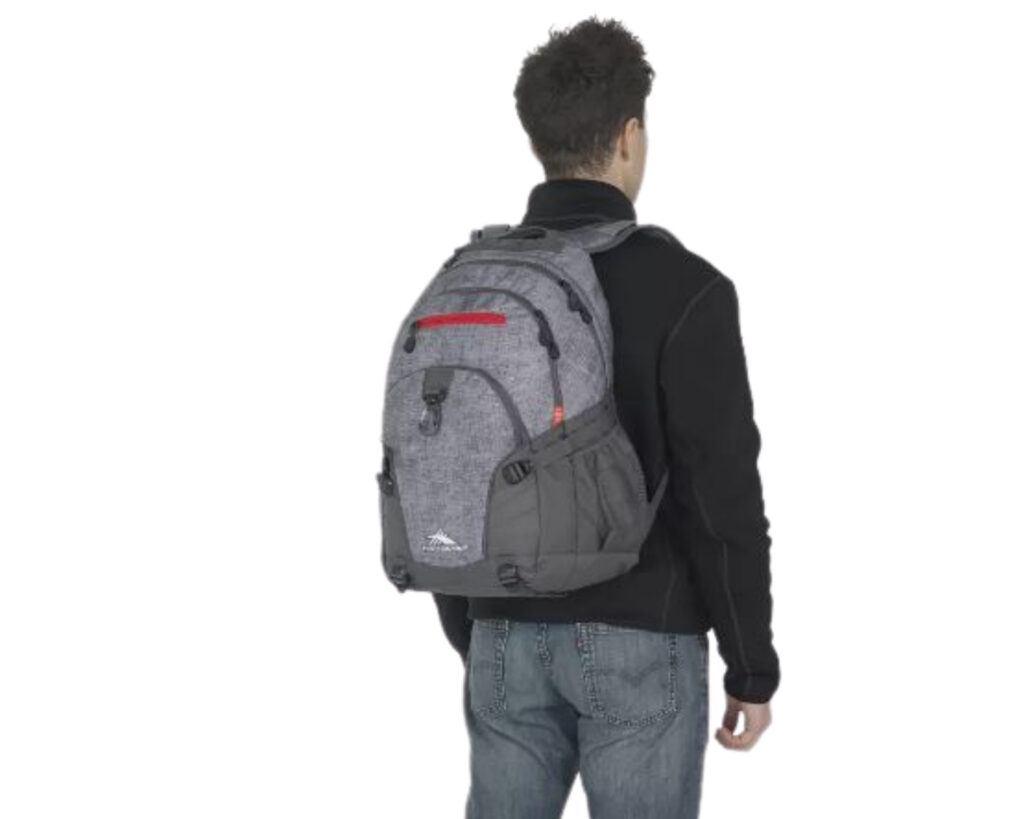 High Sierra Loop Backpack Review: High Sierra backpack on a male model