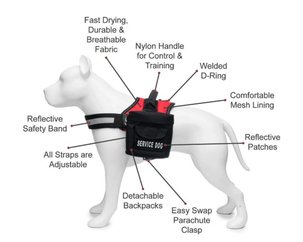Backpacks with Detachable Lunch Box: Industrial Puppy Service Dog Vest with detachable backpack