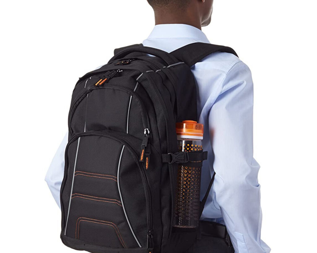 Backpack with water bottle holder: AmazonBasics Laptop Backpack
