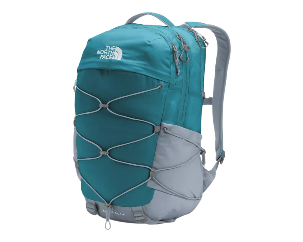 Backpack with water bottle holder: North Face Borealis backpack