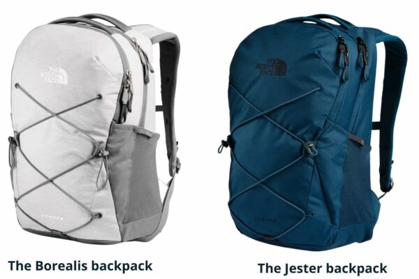 The North Face Borealis backpack vs The Jester: The North Face Borealis and Jester backpack front view